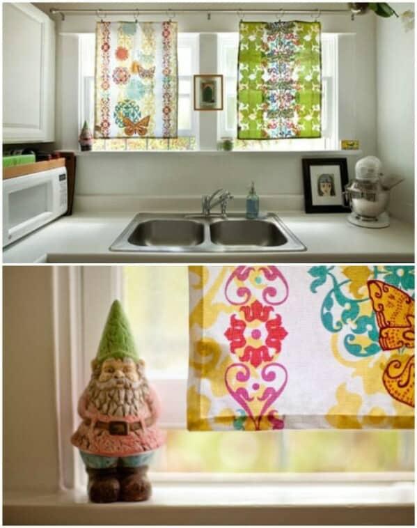 Pretty tea towel curtains