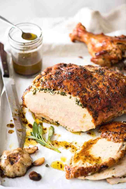 Roast turkey breast with garlic herb butter