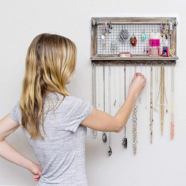 Rustic wall mounted jewelry organizer