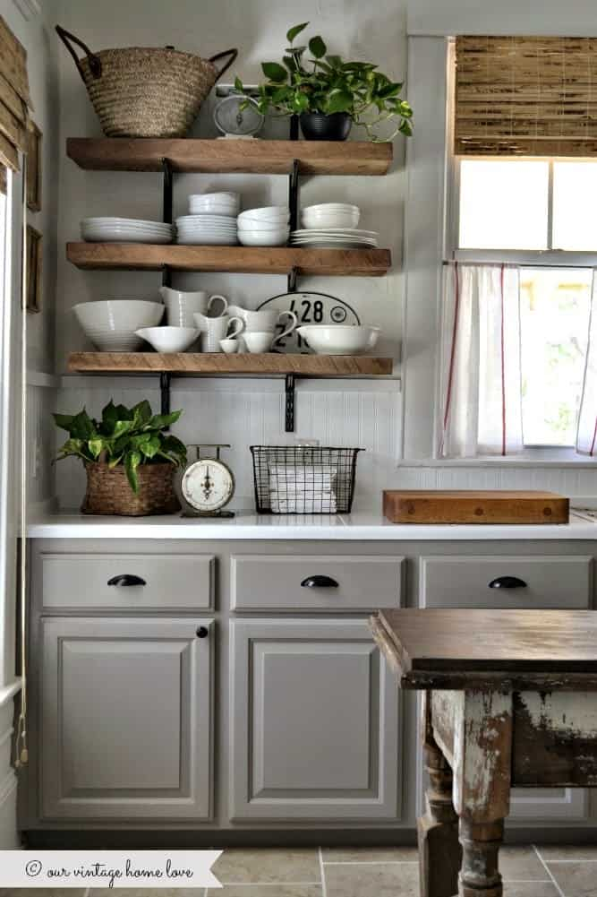 Rustic shelves with angled brackets