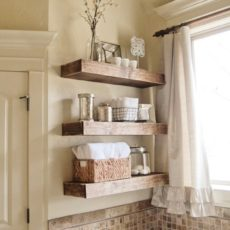 Rustic wooden floating wall shelves