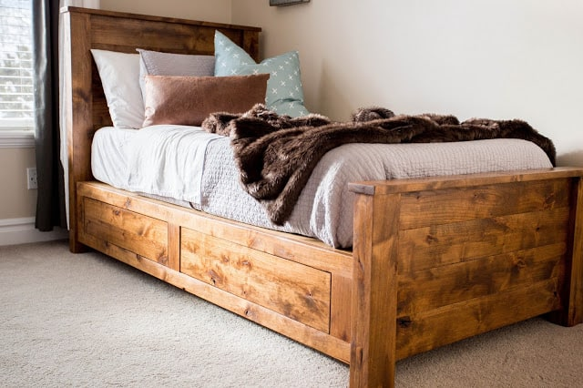Rustic wooden twin storage bed frame