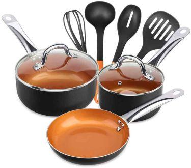 Shineuri 9 piece nonstick copper cookware pans & pots
