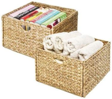 Seville classic foldable handwoven cube storage baskets