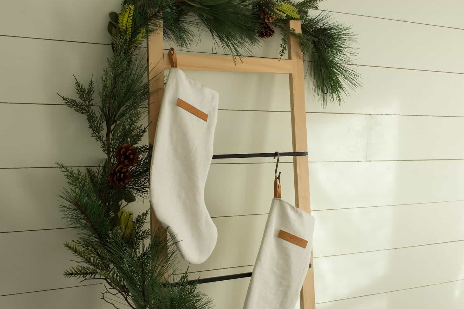 Simple linen and leather christmas stocking