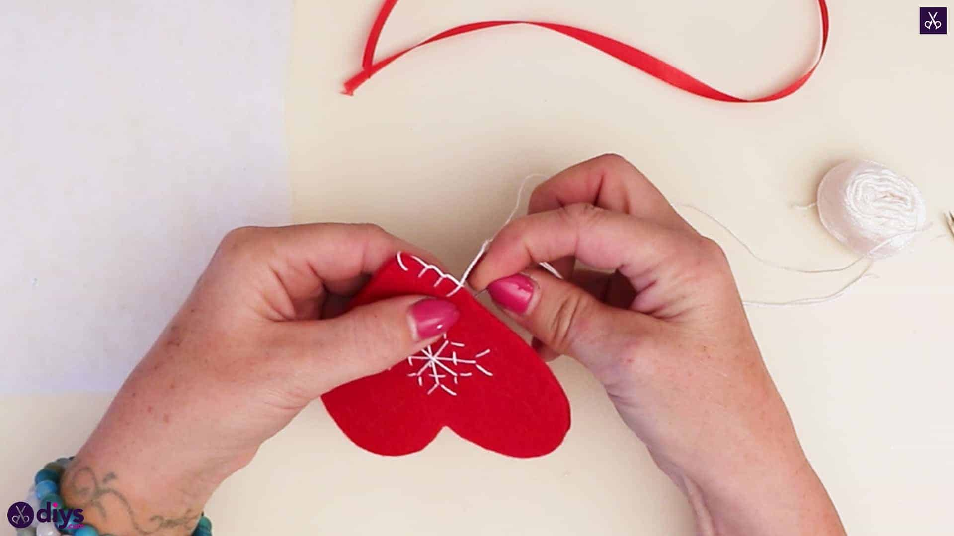 Snowflake embroidered heart ornament step 10