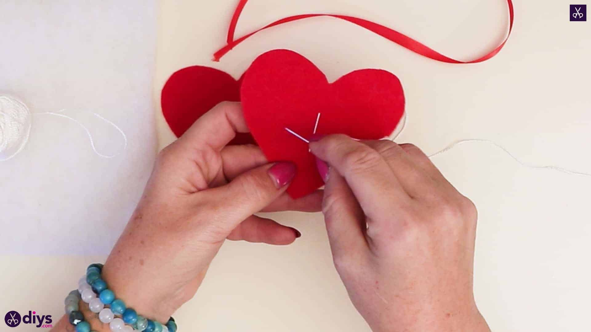 Snowflake embroidered heart ornament step 5