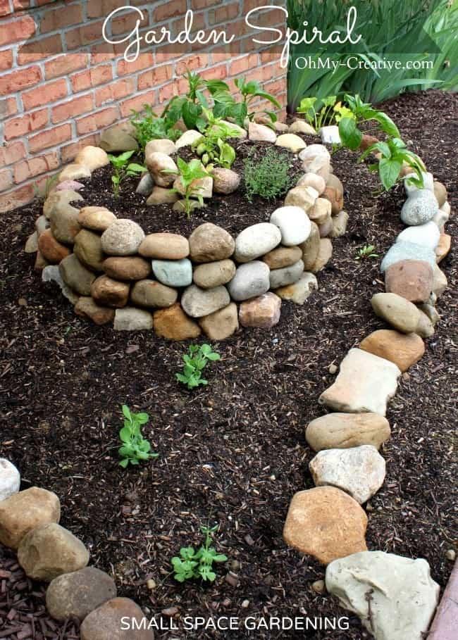 Spiralled stone vegetable garden