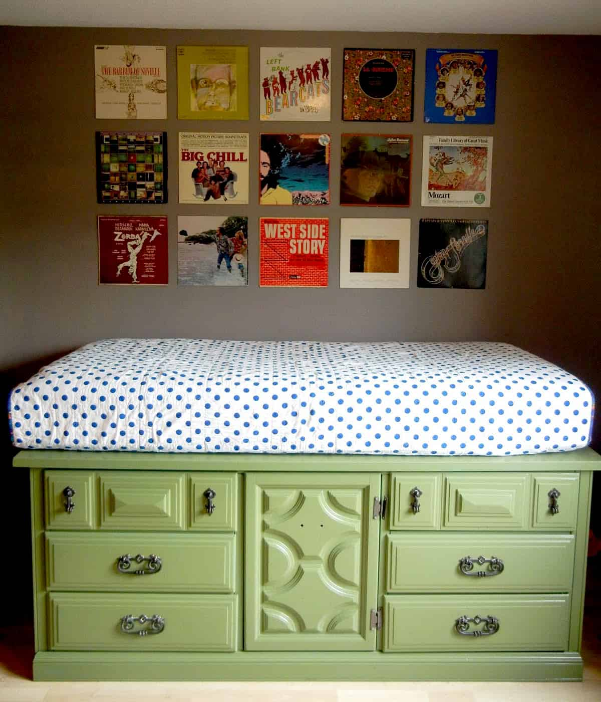 Storage bed from an upcycled dresser