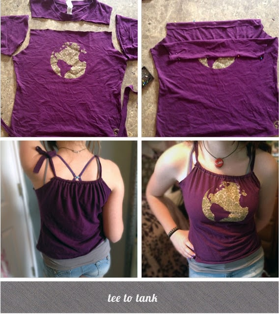 T shirt to gathered tank top