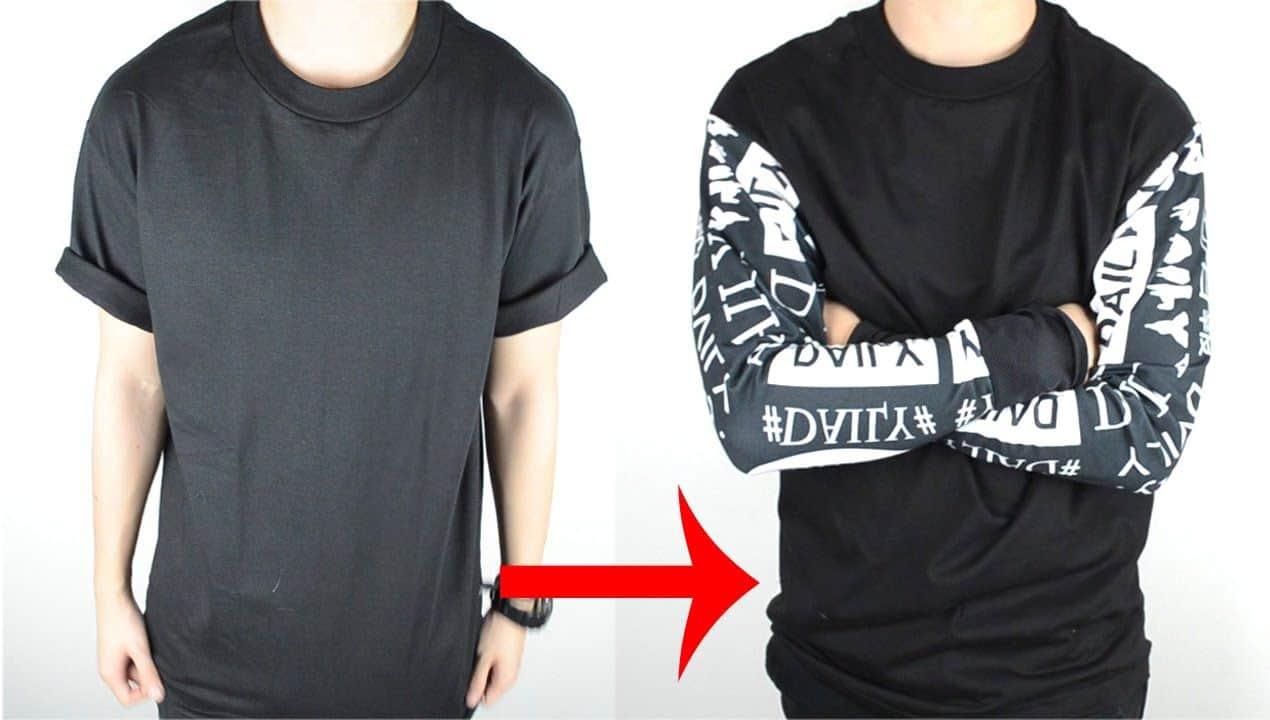 T shirt to long sleeve shirt