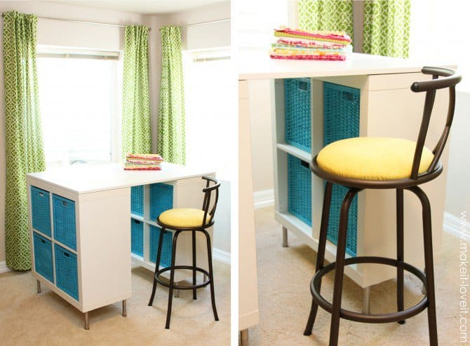 Tall counter height crafting table with basket storage