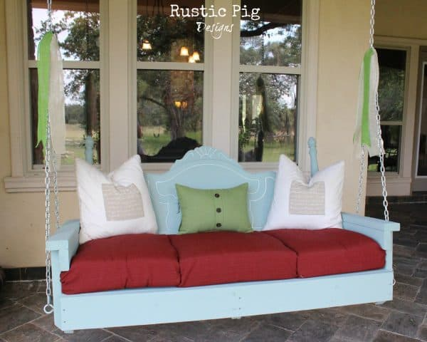 Upcycled headboard porch swing