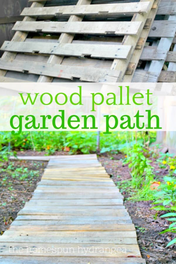 Upcycled wood pallet garden walkway