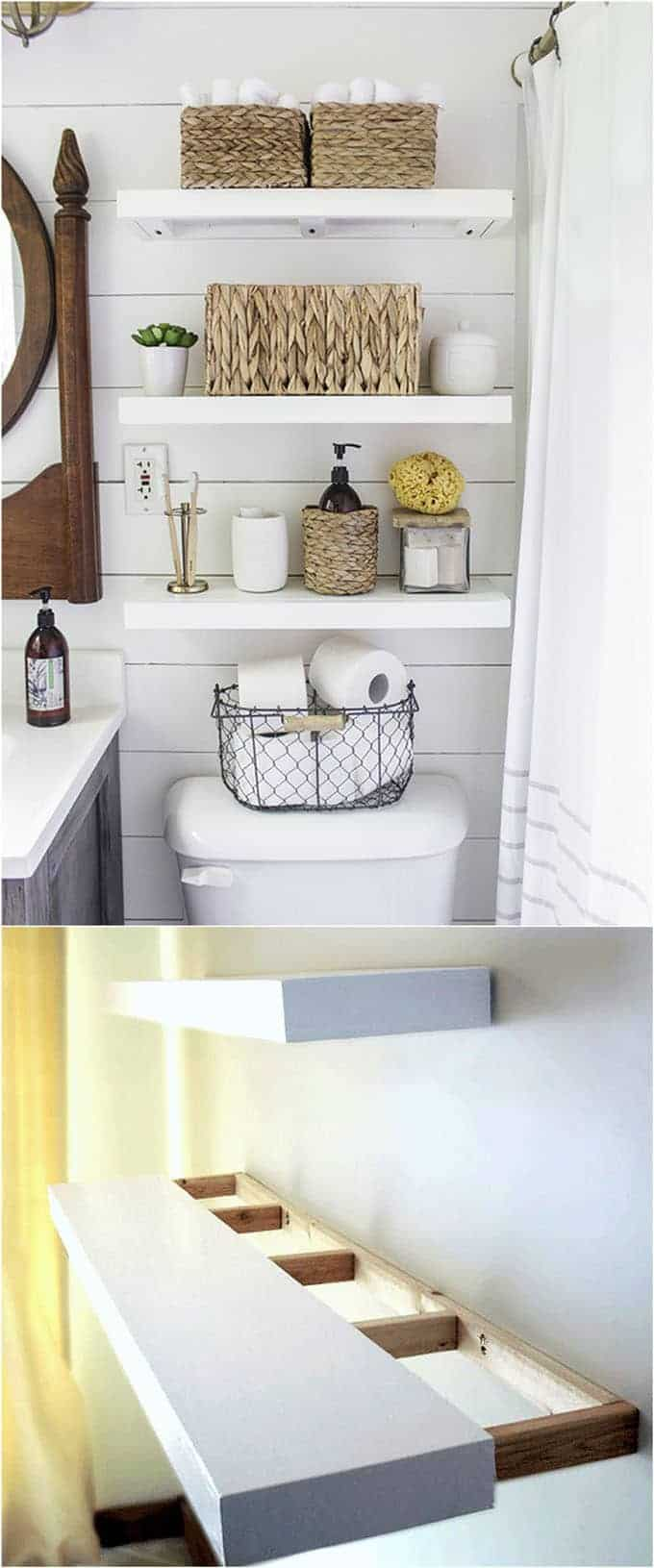 Wall shelves with hidden inner frames