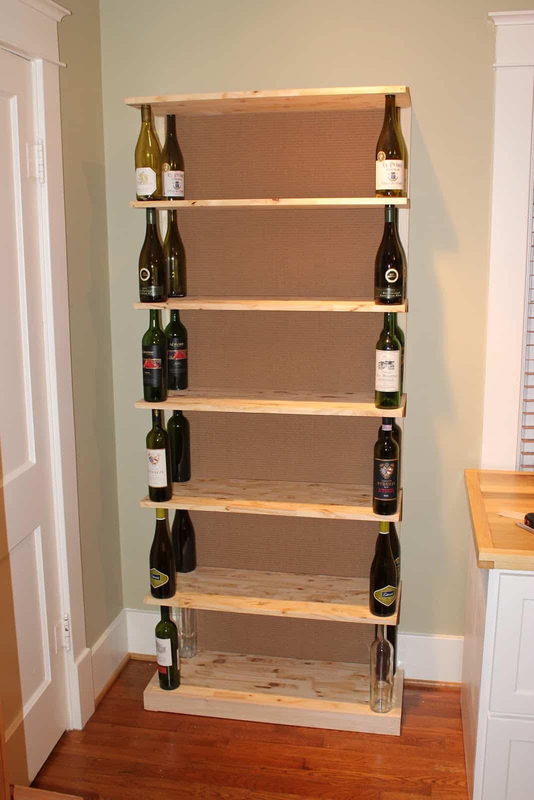 Wine bottle and wood bookshelf