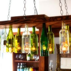 Wood and wine bottle kitchen chandelier