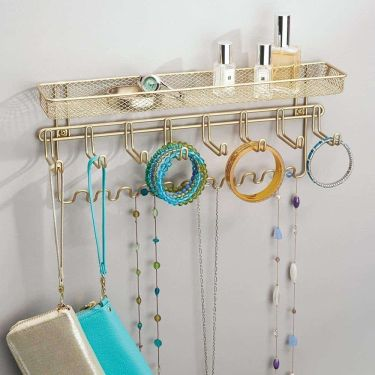 Mdesign decorative wall mounted jewelry organizer