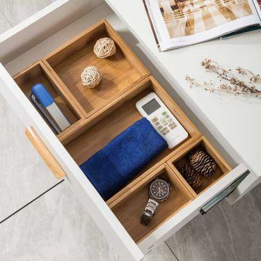 5 piece bamboo drawer organizer set