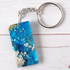 Alcohol ink and resin keychains