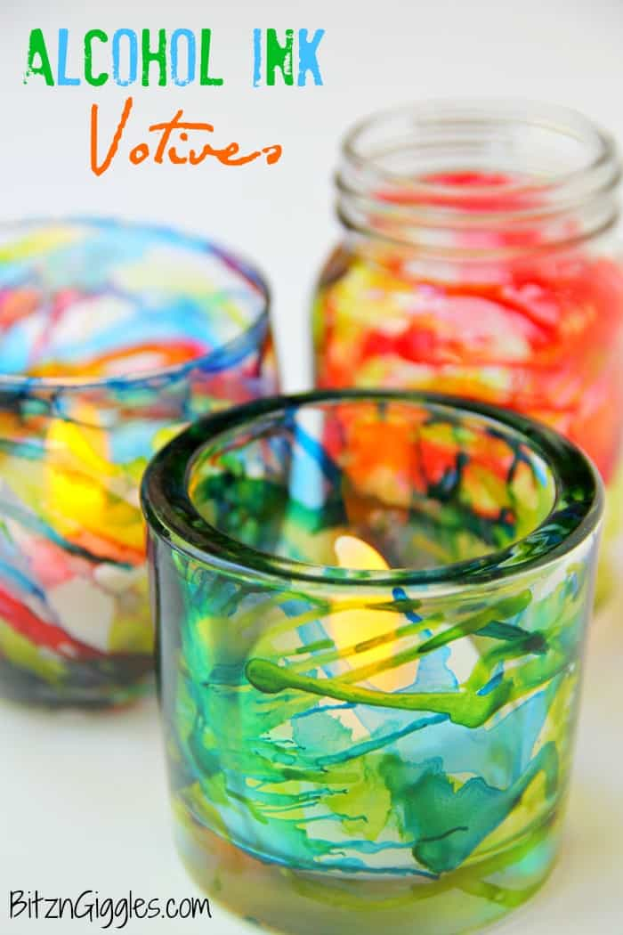 Alcohol ink glass votives