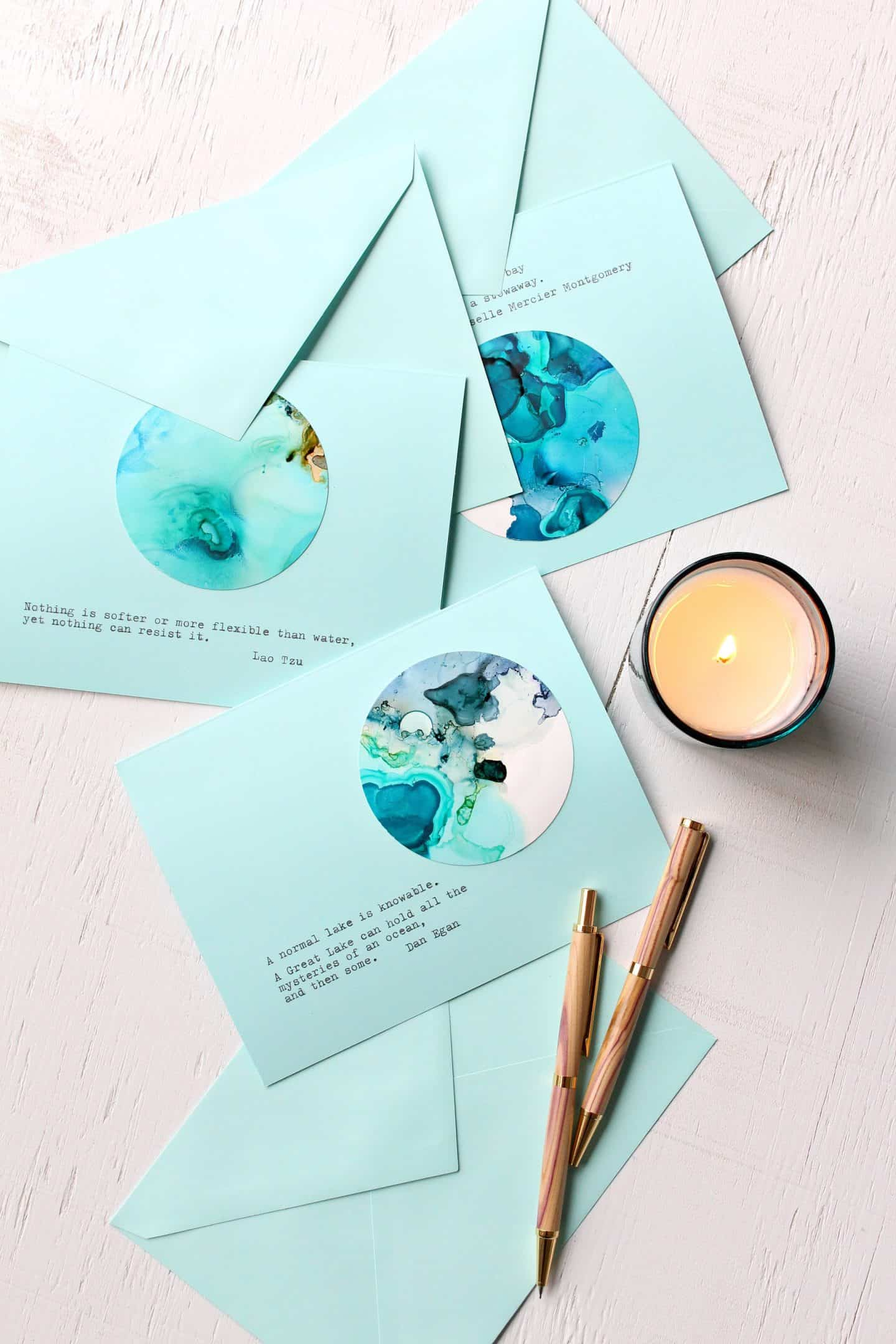 Alcohol ink note cards