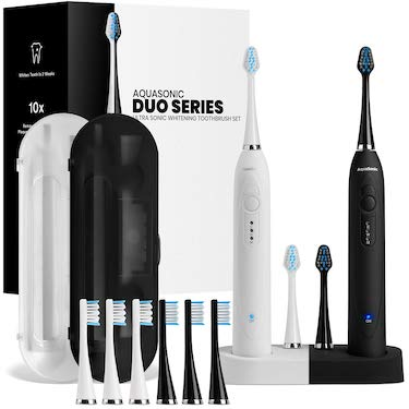 Aquasonic duo dual handle ultra whitening 40,000 vpm wireless charging electric toothbrushes