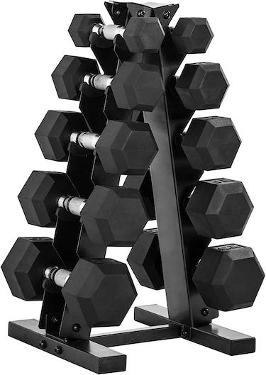 Cap barbell 150 pound dumbbell set with rack