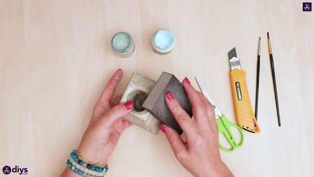 Concrete hair clip container sand paper