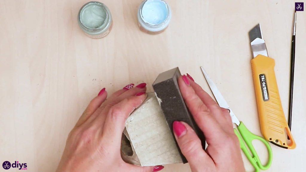 Concrete hair clip container sandpaper a