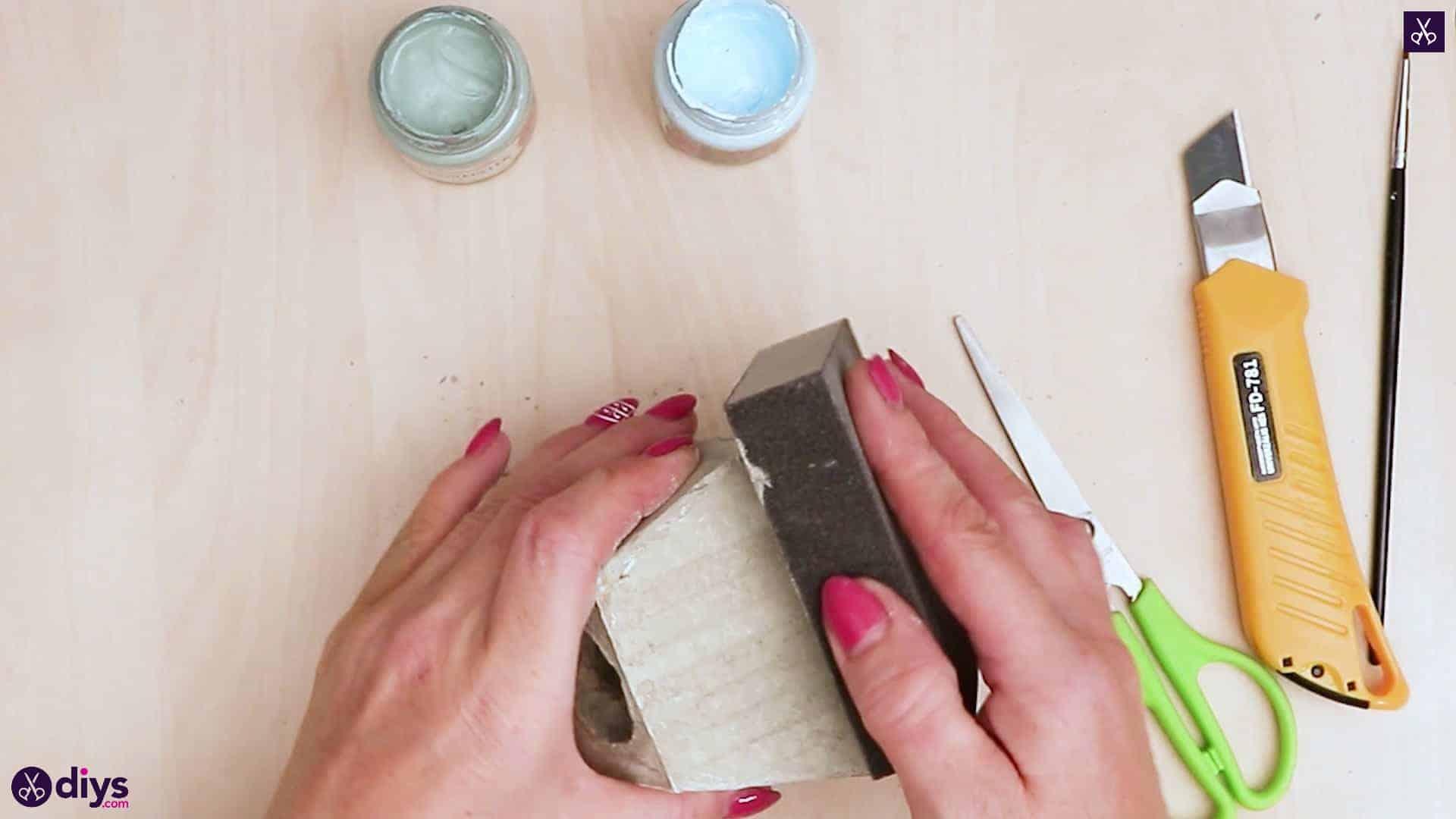 Concrete hair clip container sandpaper a