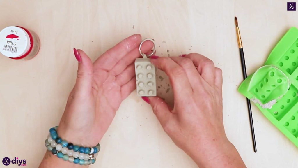Concrete lego block keychain dipslay