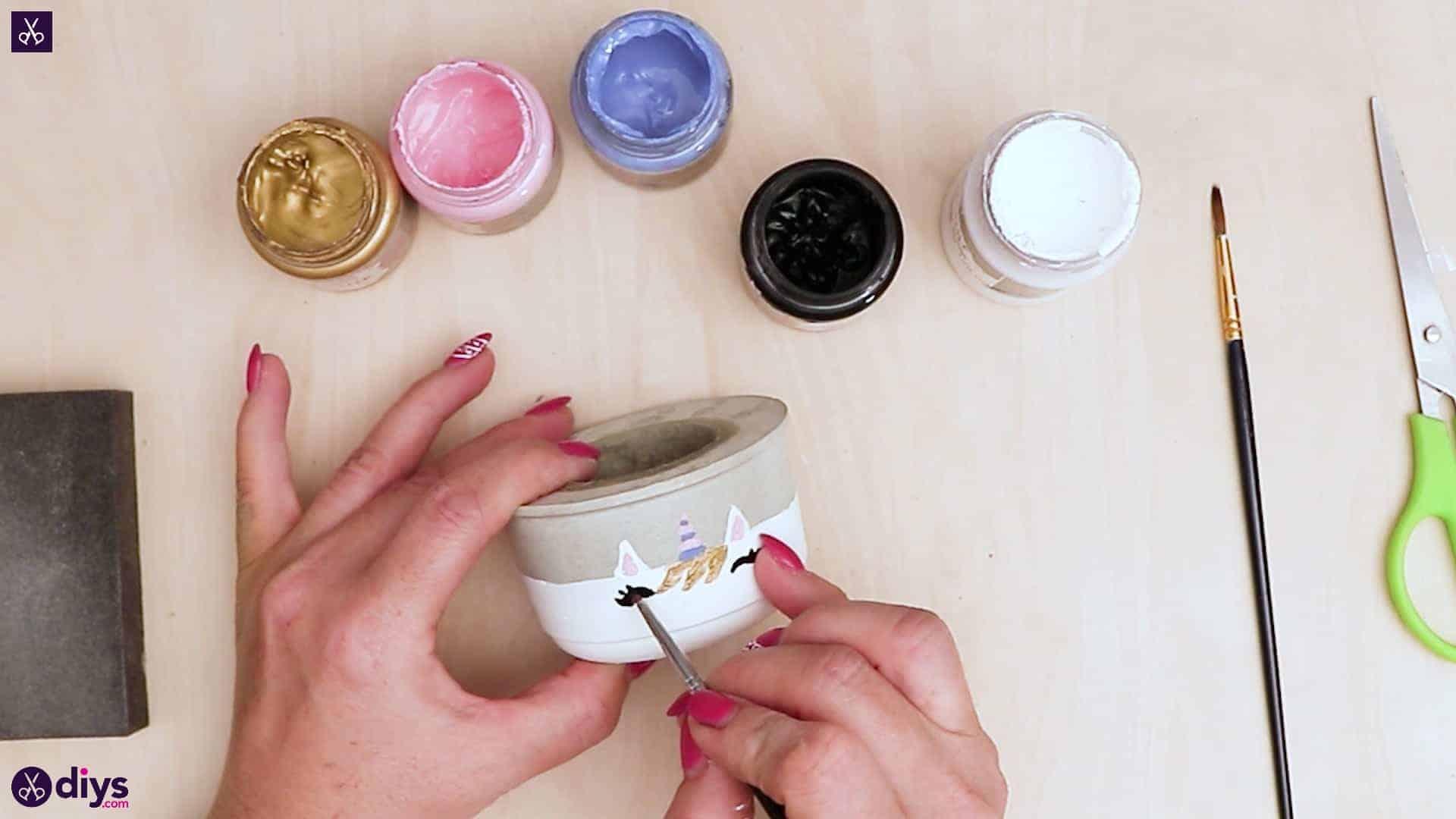 Concrete unicorn flower pot paint eye