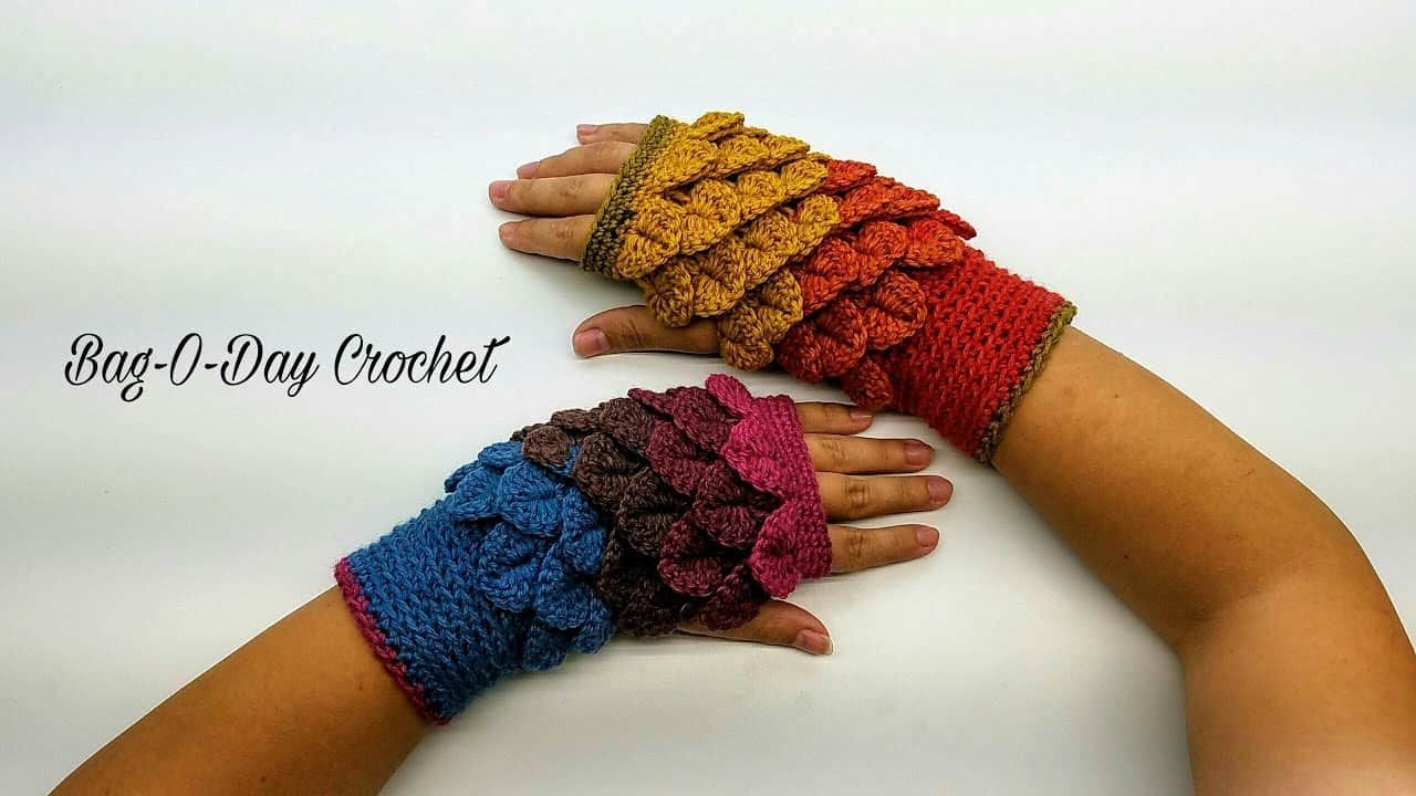 Crocheted autumn leaves fingerless mittens