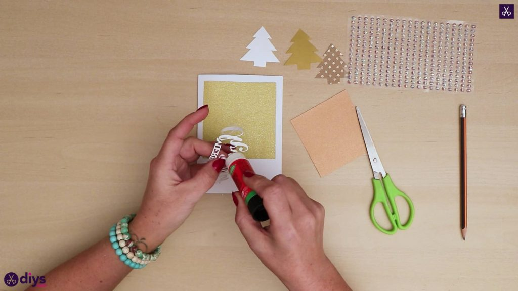 Diy christmas tree card add adhesive