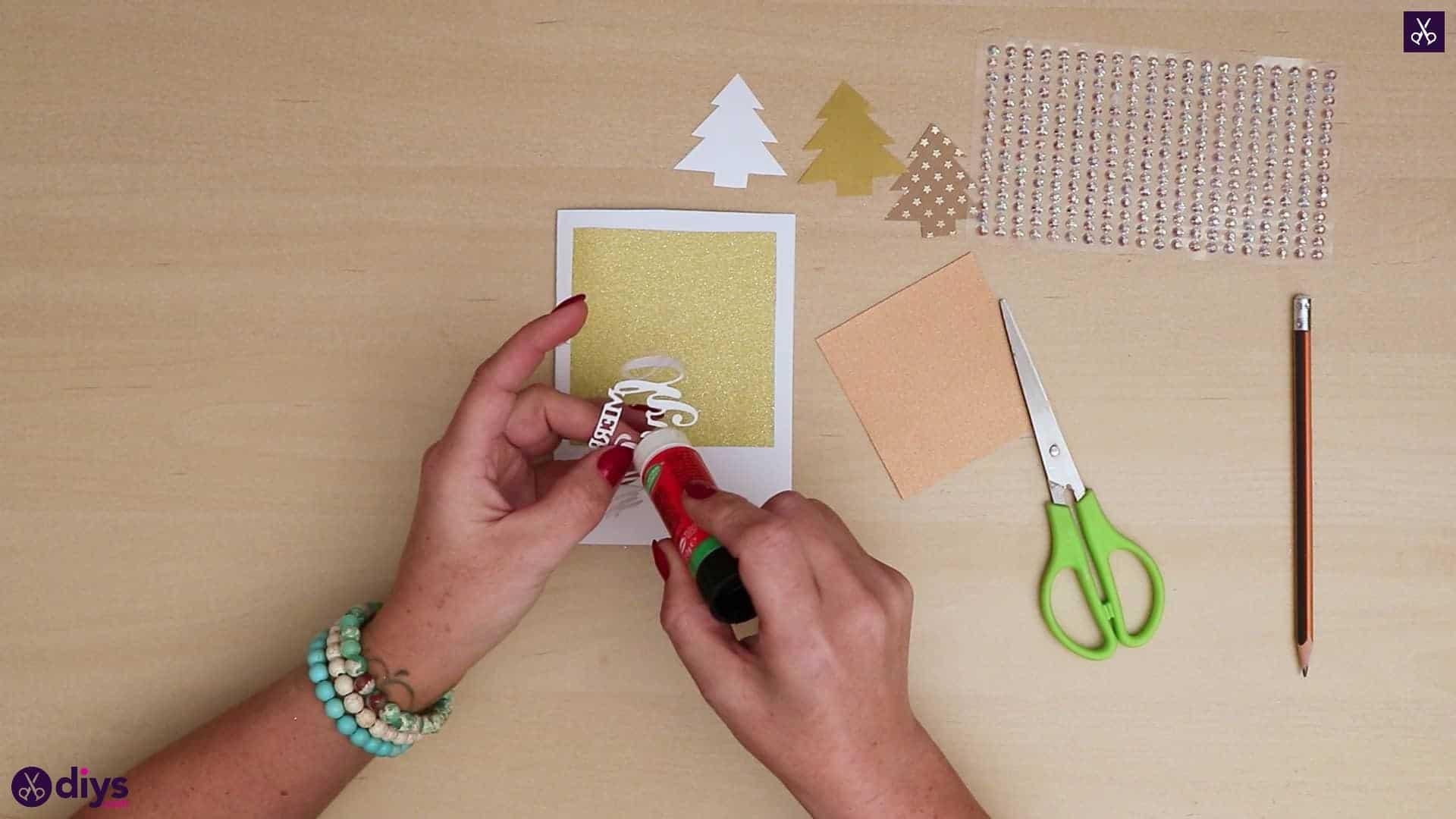 Diy christmas tree card add adhesive