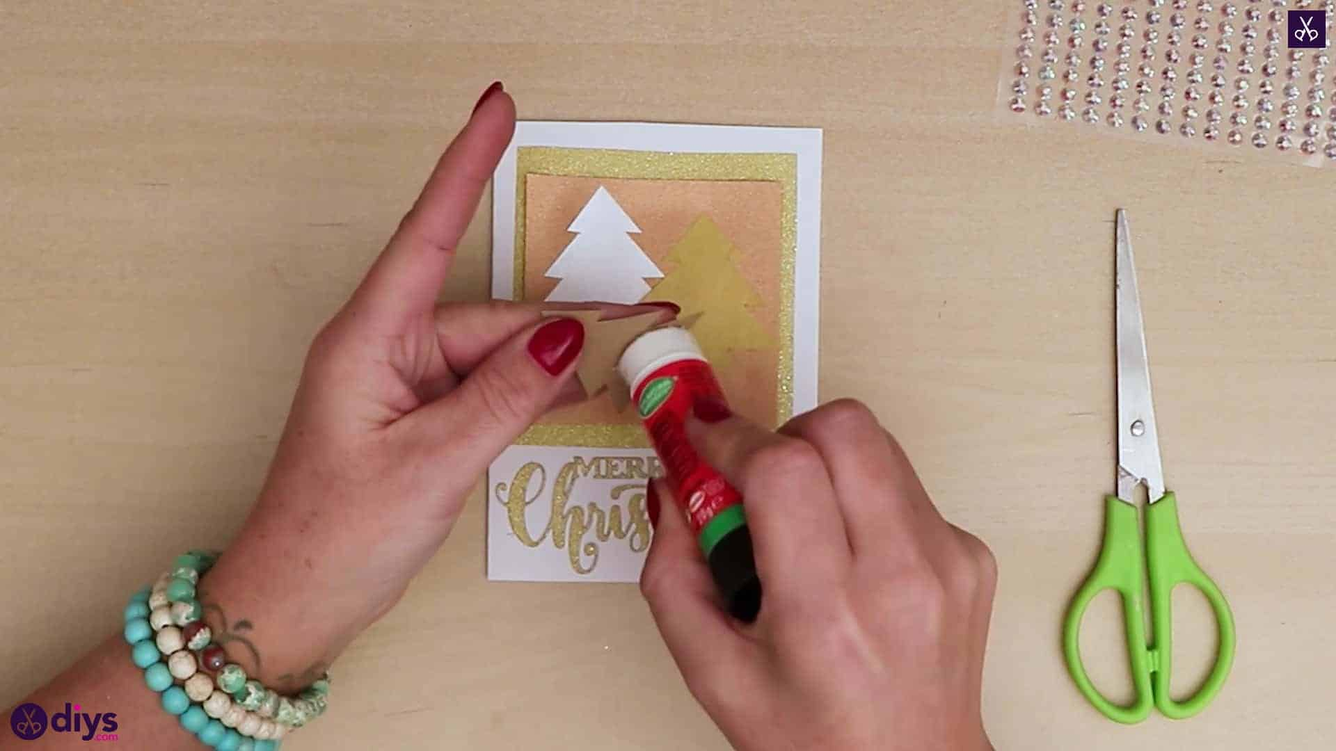 Diy christmas tree card attach all trees