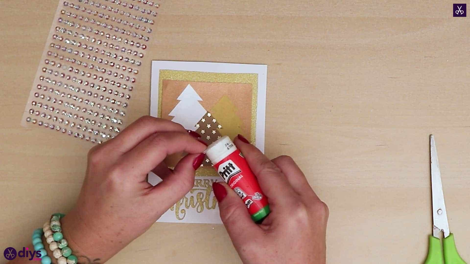 Diy christmas tree card crystals