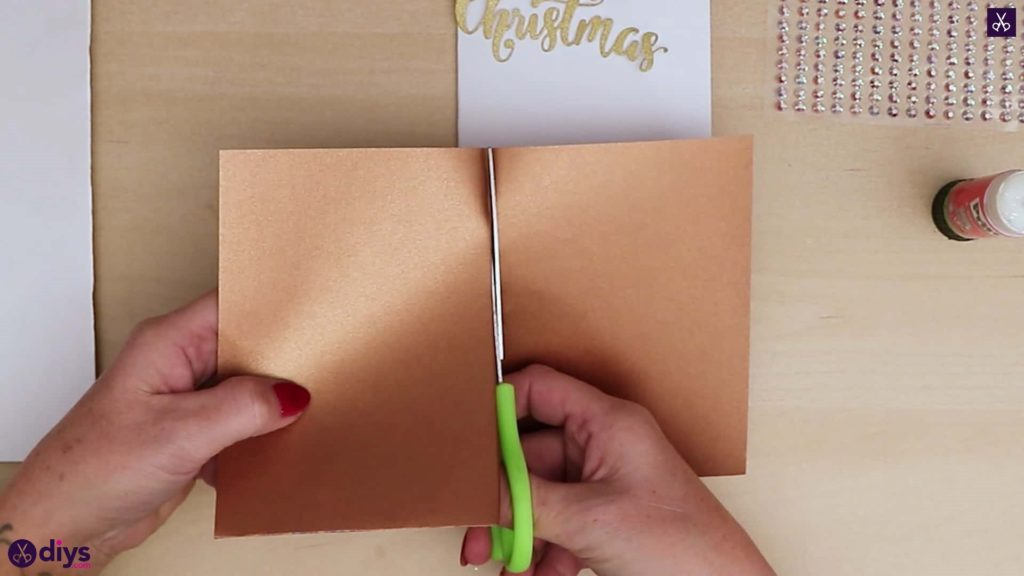 Diy christmas tree card cut half