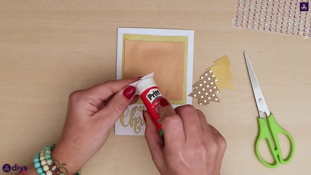 Diy christmas tree card glue trees