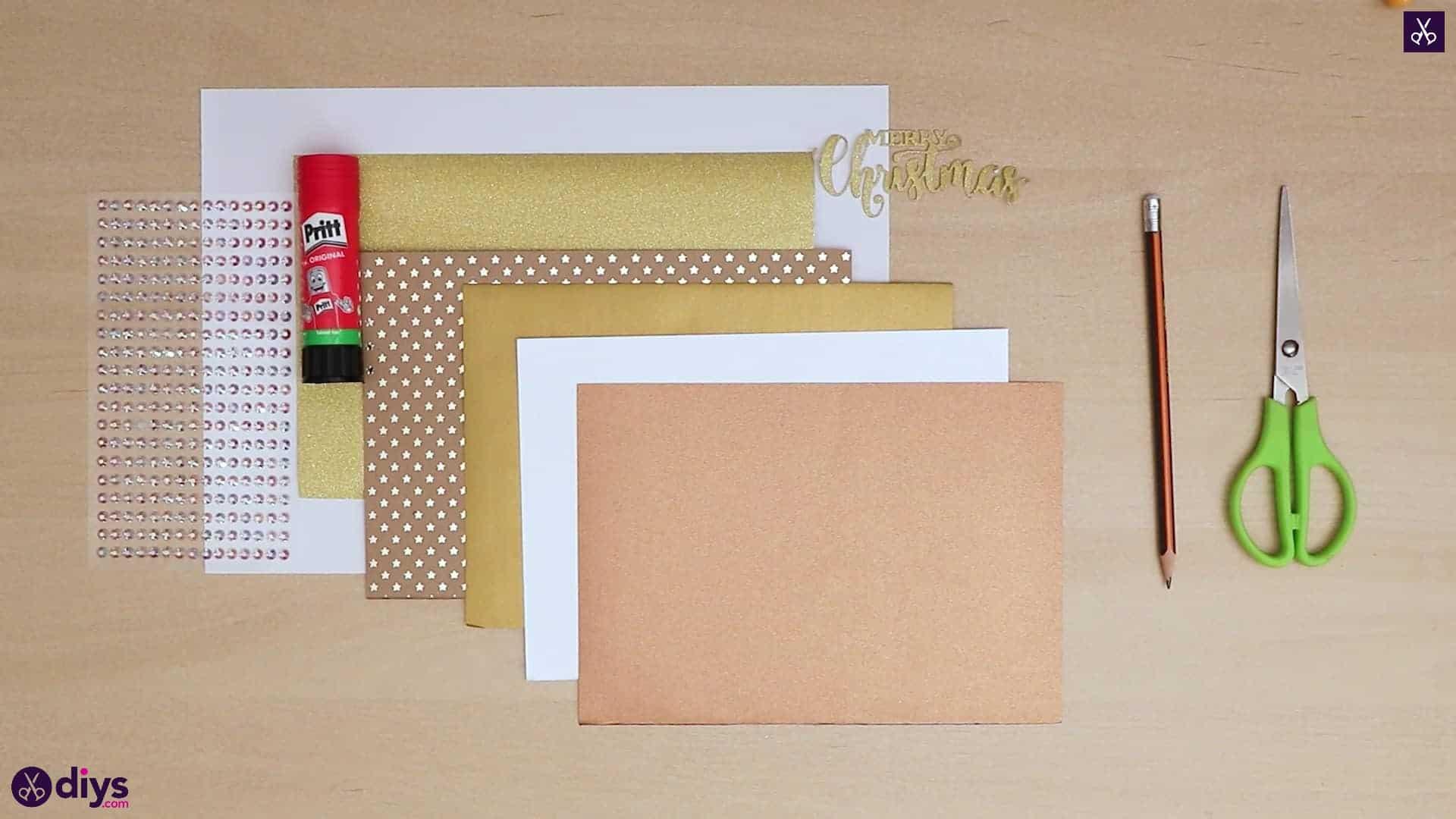 Diy christmas tree card materials