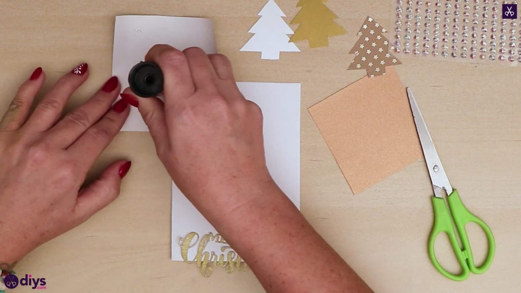 Diy christmas tree card stamp