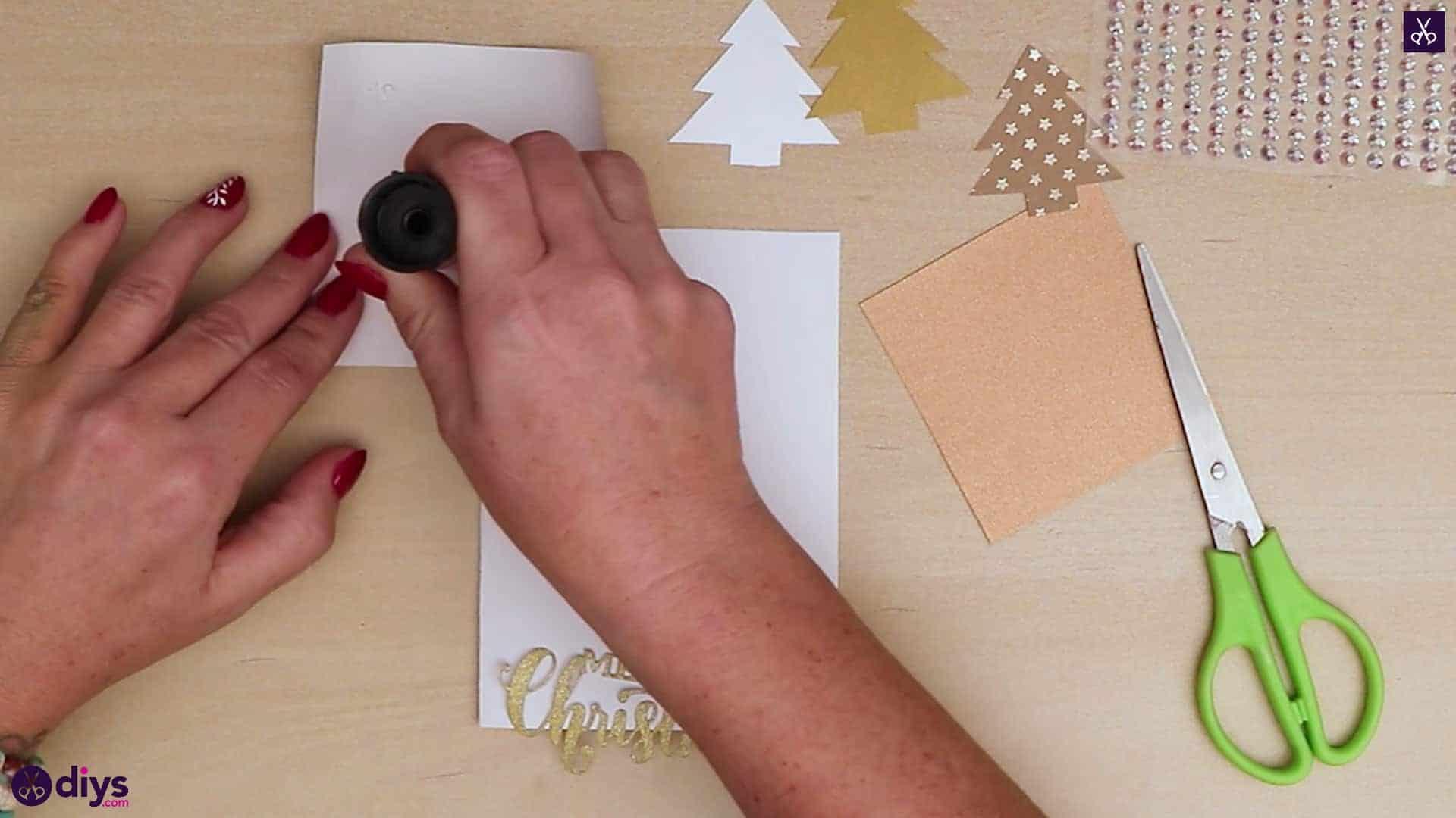 Diy christmas tree card stamp