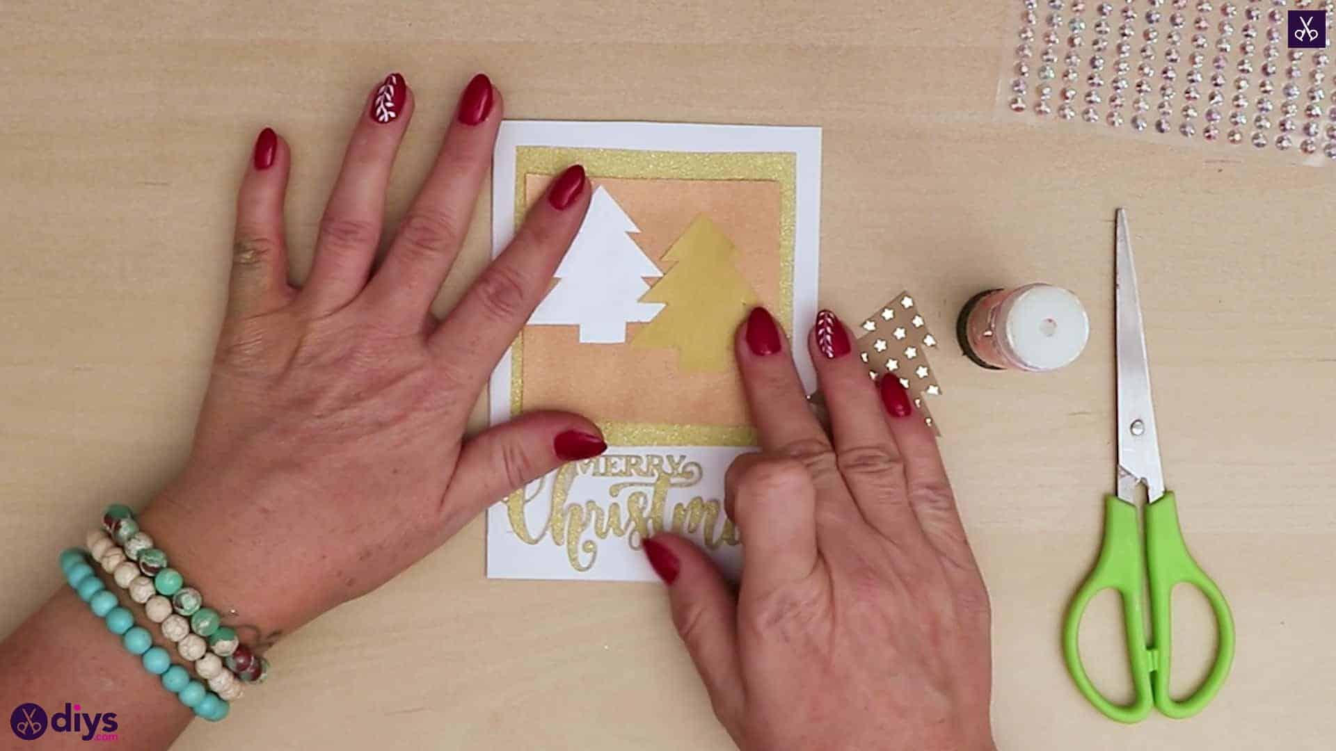 Diy christmas tree card stripe