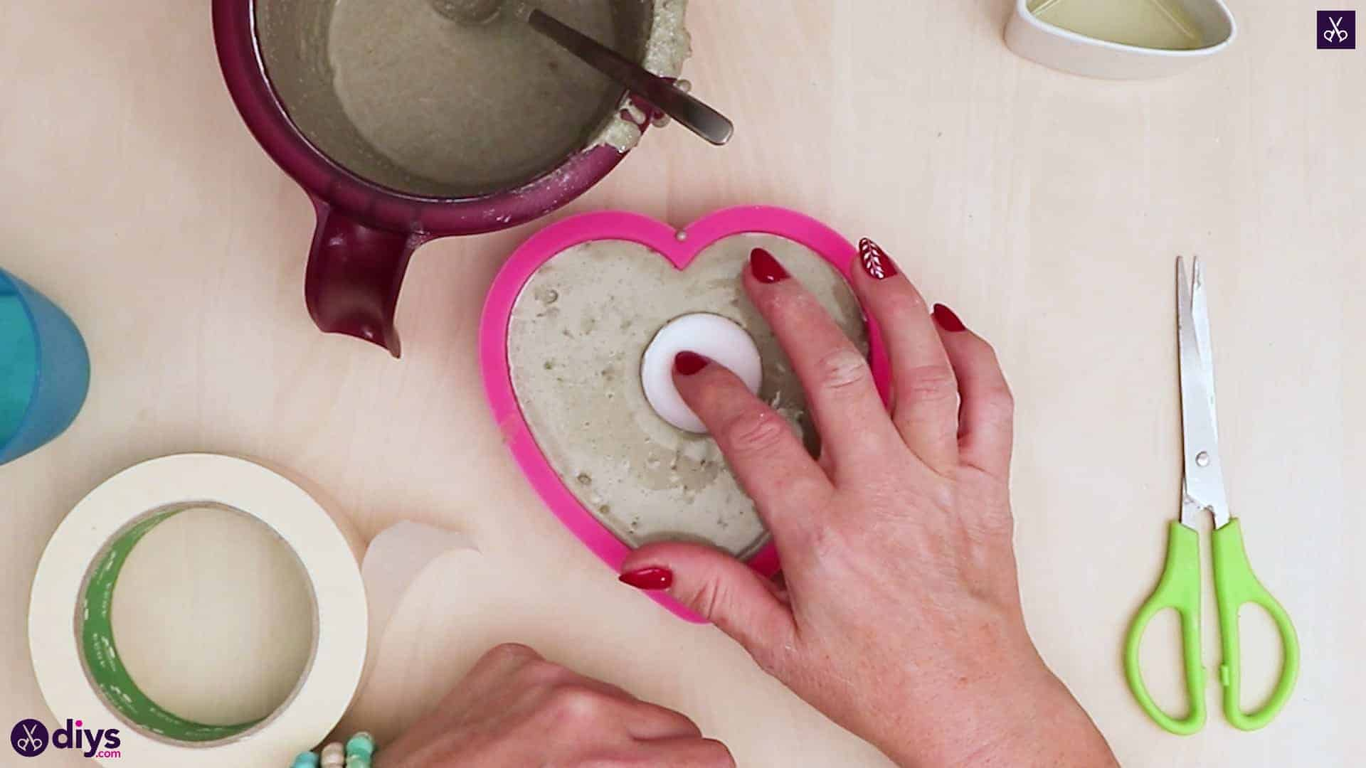 Diy concrete heart candle holder add candle