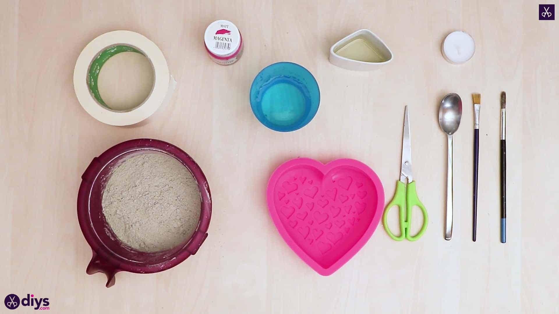 Diy concrete heart candle holder materials