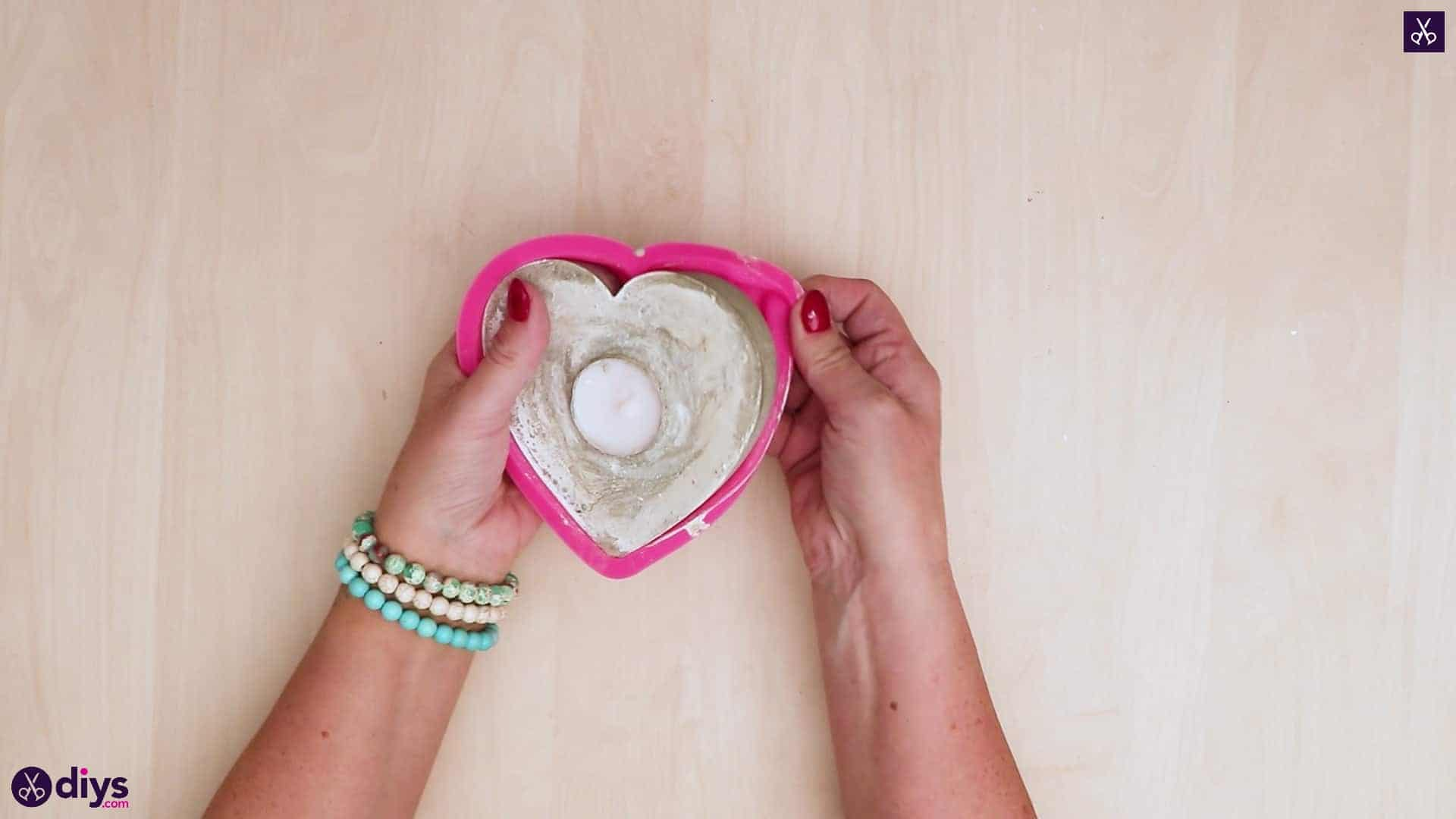 Diy concrete heart candle holder remove mold