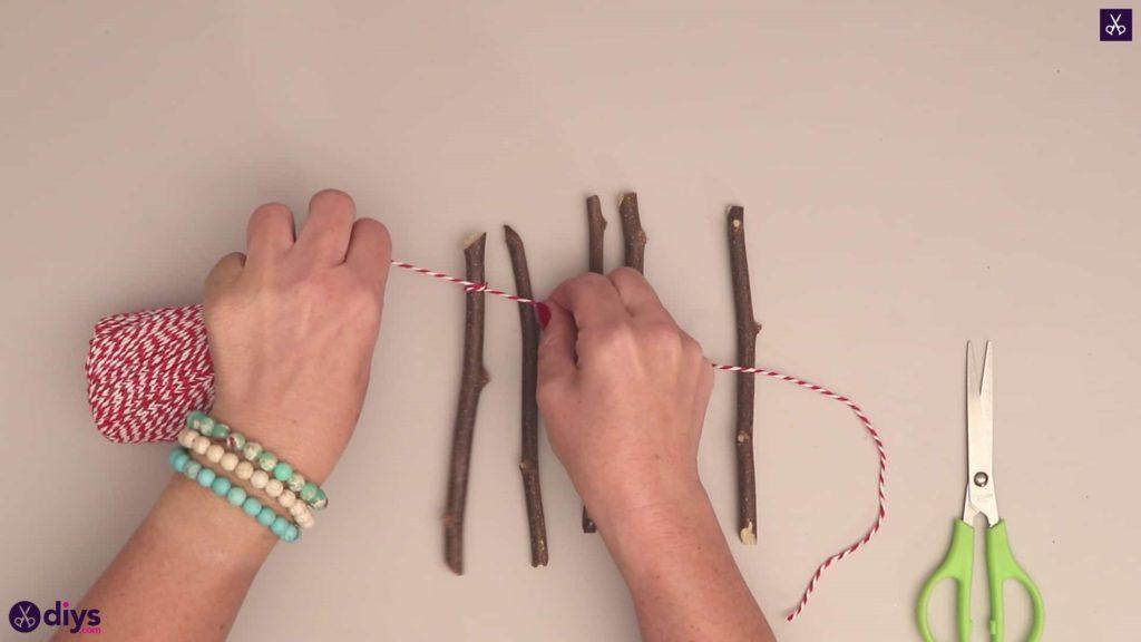 Diy twig star craft prepare string