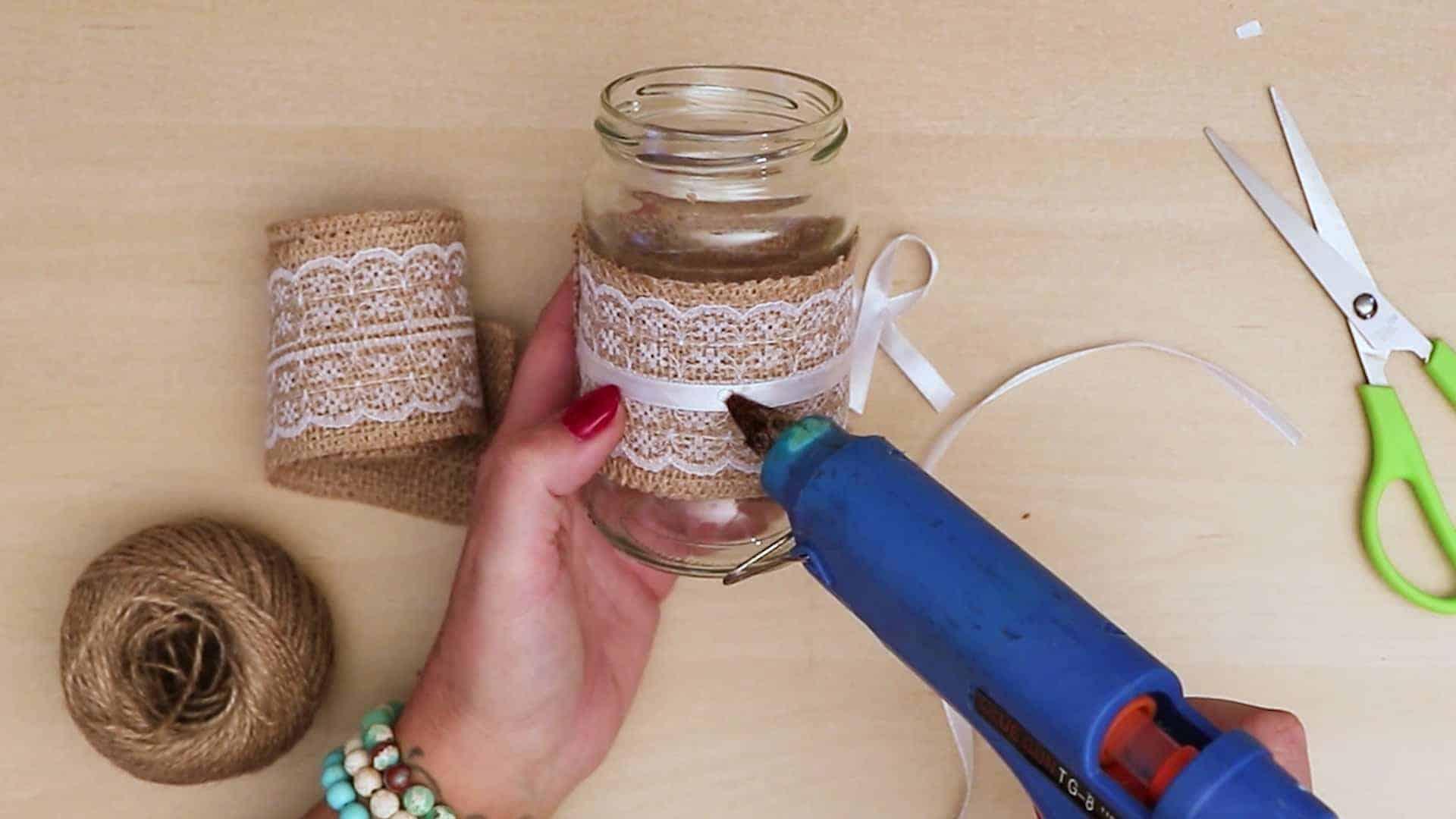 Diy vintage mason jar craft add bow glue