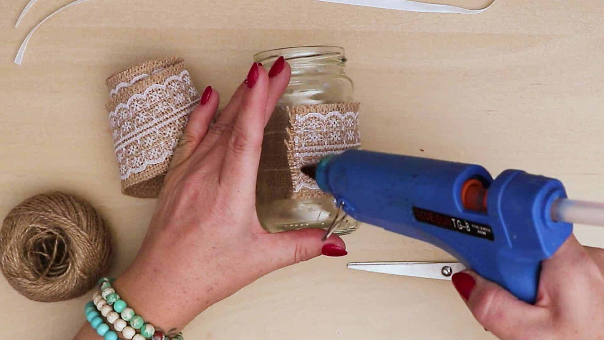 Diy vintage mason jar craft add glue